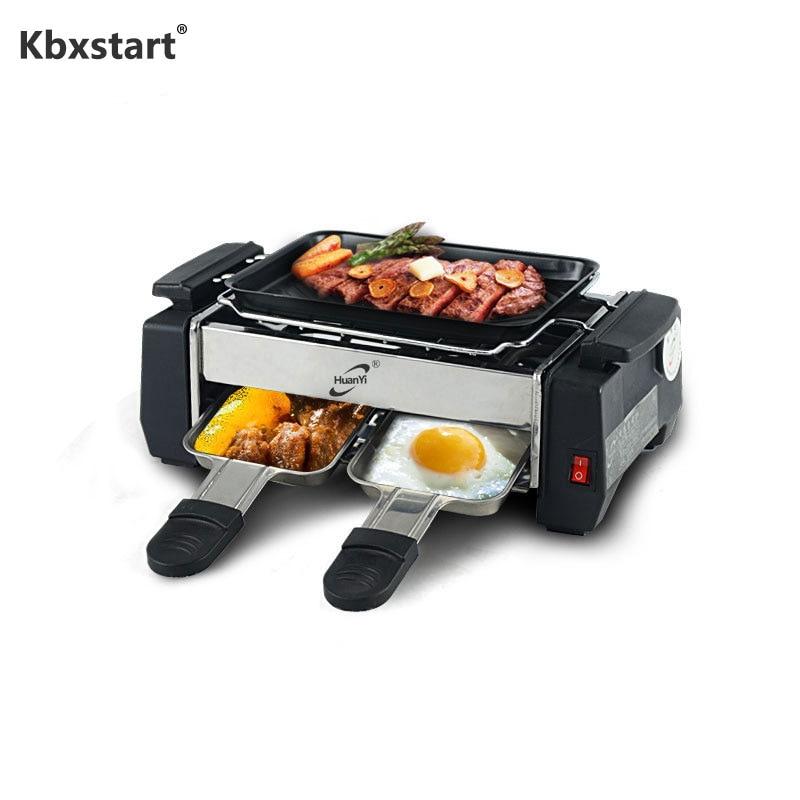 1000 W antiadhésif famille Barbecue électrique Raclette Grill pour 2 à 4 personnes sans fumée Grill Raclette poêle électrique plancha 220 V