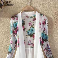 Women Chiffon Blouse Floral Print Long Sleeve Open Stitch Cardigan Irregular Hem Women Shirt 2019 Summer Sunscreen Tops burgundy long sleeves irregular hem knitted cardigan