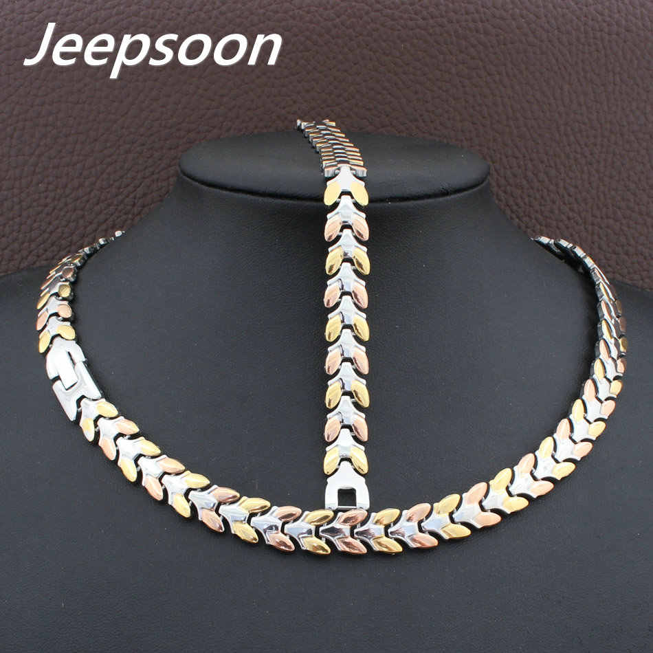 High Quality Fashion Jewelry Stainless Steel Chain Necklace&Bracelet Set For Woman SFKGBRDD