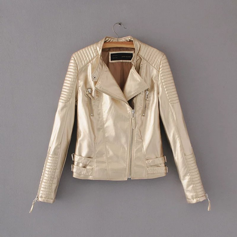 Women PU Coat Motorcycle Style Faux   Leather   Turn-down Collar Female Jacket