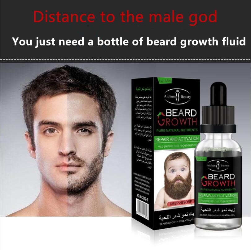 10 pcs Aichun Beard Growth Fluid Mild Care Hair Growth Beard Growth Essential Oil 30ml activity recovery growth paper