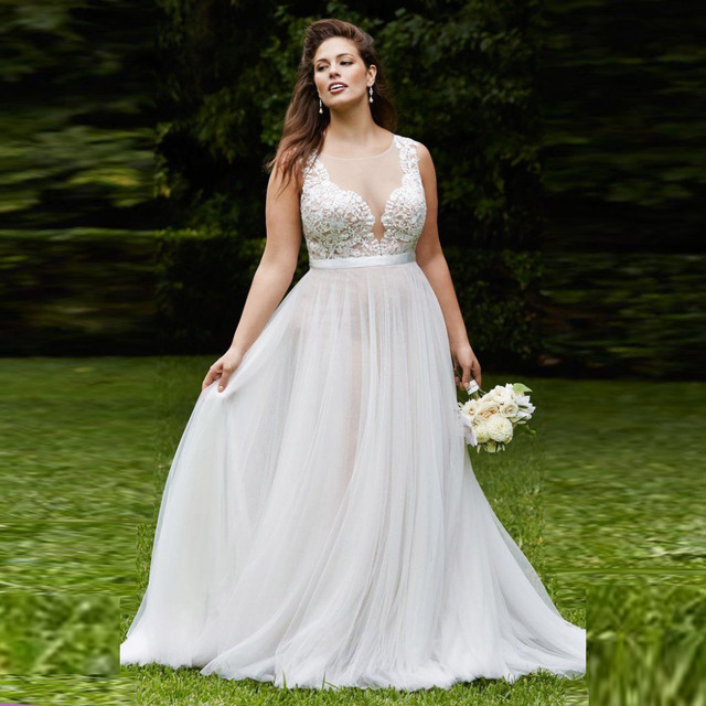 b801471b2f21 Designer Wedding Dress for Chubby Women A-line Appliques Sheeer Scoop  Neckline Embroidery Organza A-line Plus Size Wedding Dress