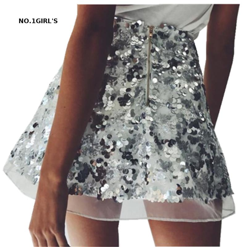 Women's High Waist Skirt Sexy Glitter Party Mini Skirt Bodycon Party Skirt Silver Gold Sexy Zipper Short Skirts For Women Ladies
