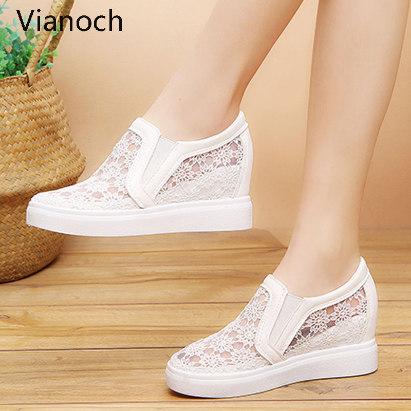 2019 New Fashion Womens Shoes Casual Wedges Mesh Shoe Slip On Lady aa0773(China)