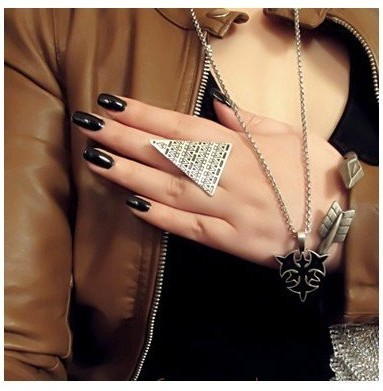 Artilady punk triangle engagement ring adjustable deisgn ring female ring