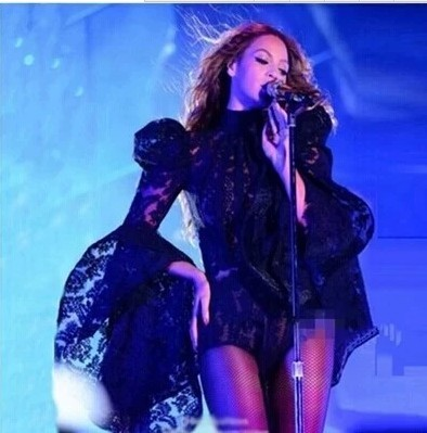 Сексуальная певица наряд Кружево космический костюм Для женщин Динамик рукава боди черный сцены Бейонсе костюм