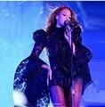 Mulheres Traje Sexy Cantora Roupa Rendas Espaço Speaker Mangas Bodysuit Preto Beyonce Traje Performance de Palco