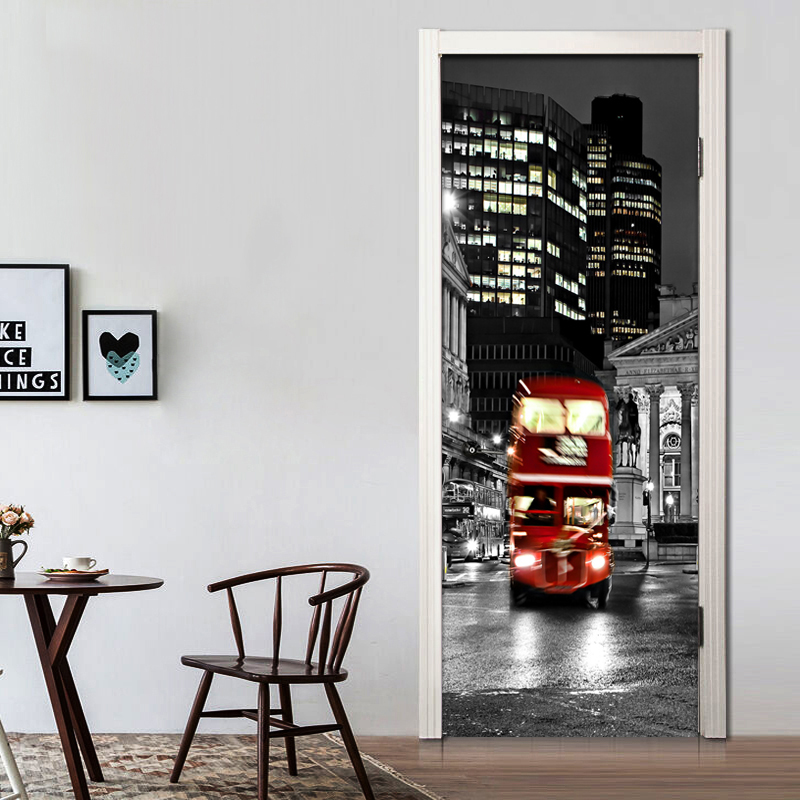 Retro Red Bus Photo Wallpaper Black And White City Backdrop 3D Wall Mural Cafe Dining Room Door Sticker PVC Self-Adhesive Murals the ivory white european super suction wall mounted gate unique smoke door