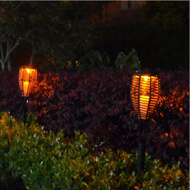 Landscape Lighting Outdoor Light Solar LED Lawn Lamp Waterproof Torch Rattan Courtyard Garden Candle Lights With Solar Panel