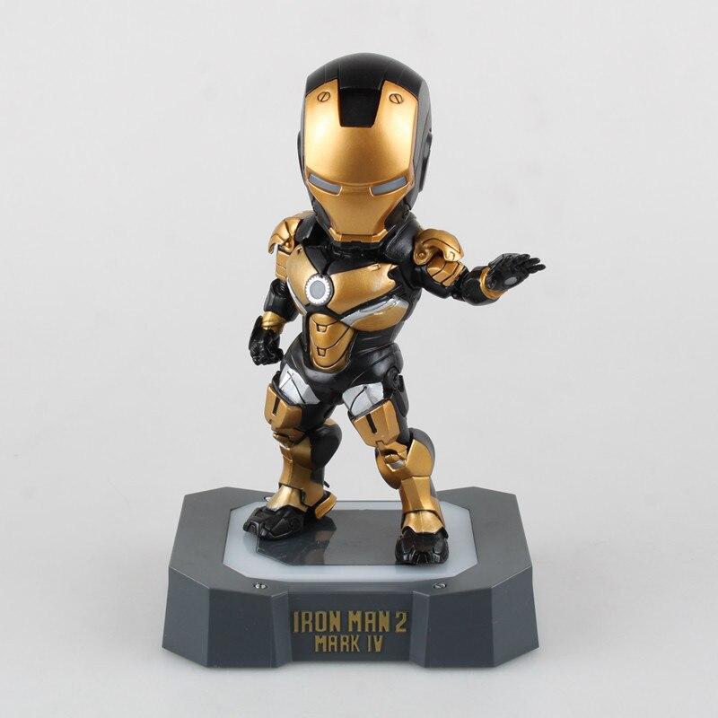 Аниме supehero Железный человек 2 Mark IV черный версии МК 4 Освещение ПВХ фигурку Ironman кукла Фигурка Модель Дети игрушечные лошадки 3 цвета