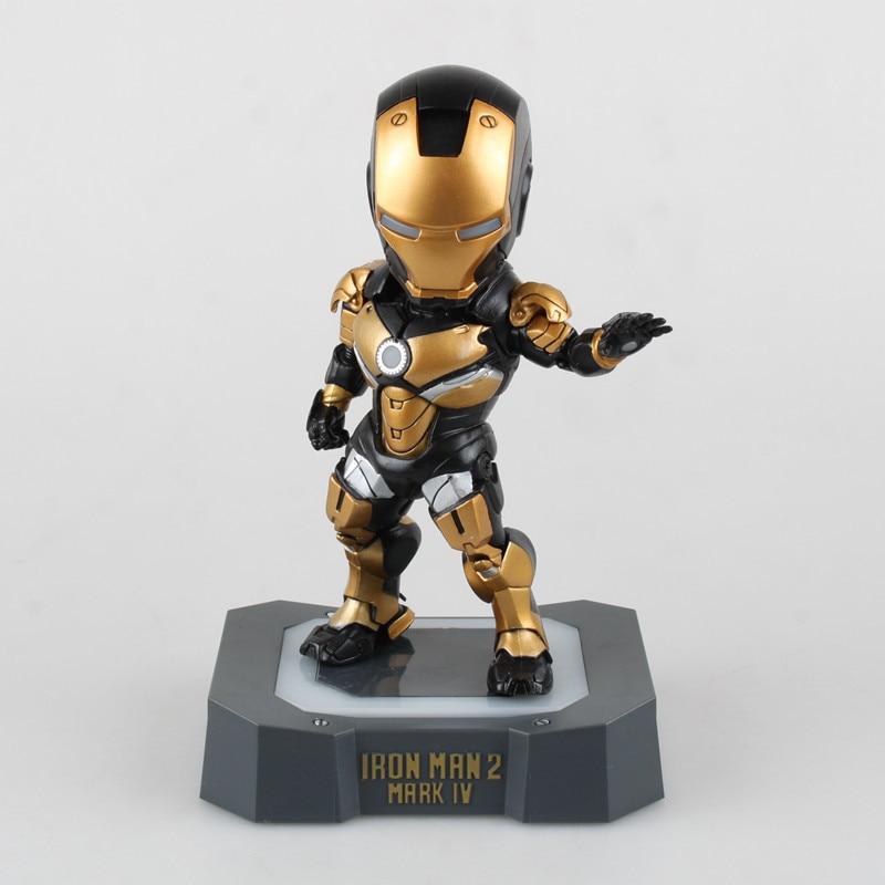 все цены на  Anime Supehero Iron Man 2 Mark IV Black Q Version MK 4 Lighting PVC Action Figure Ironman Figurine Doll Model Kids Toys 3 Colors  онлайн