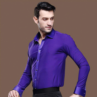 2018 New Men Latin Dance Shirts Long Sleeve Competition Performance Printing Wear Purple Turn Off Collar Standing Collar