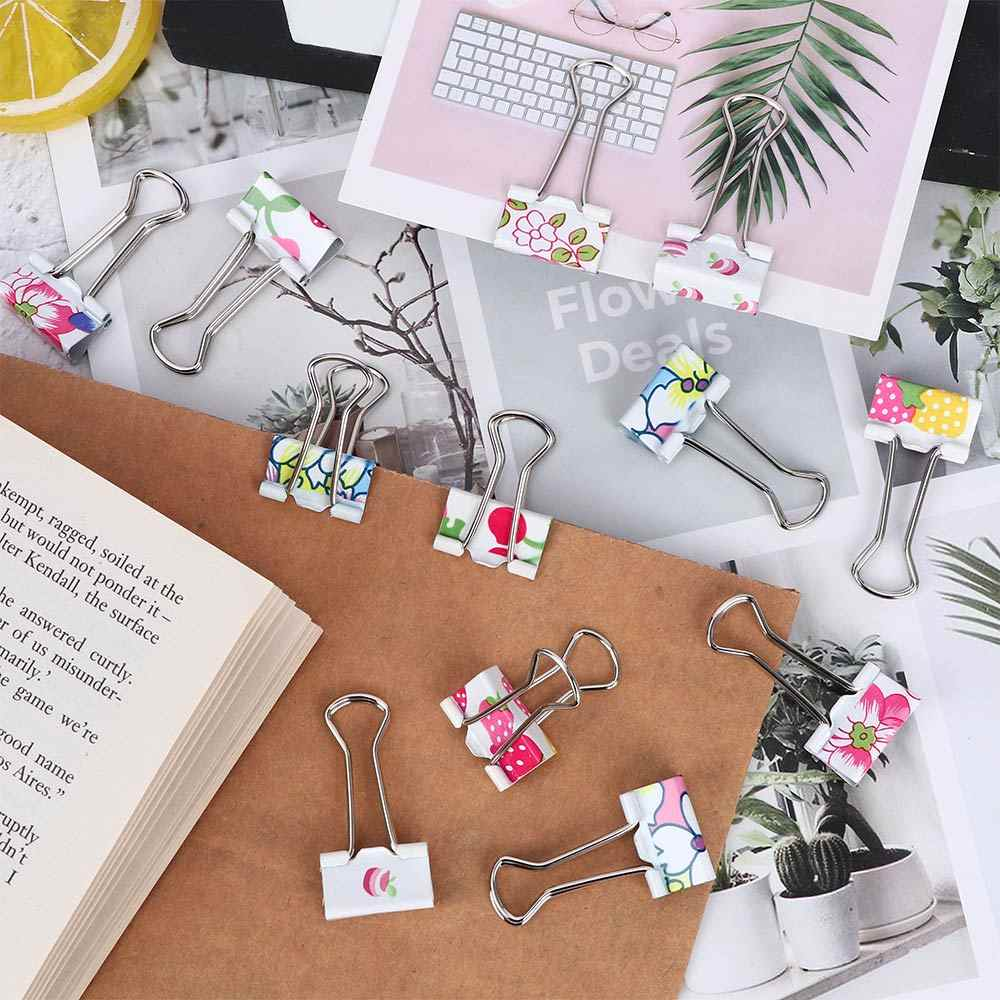 20Pc/set clips File Paper Desk Binder Paper Office Stationery file Cute Metal Assorted Color office desk tools food storage