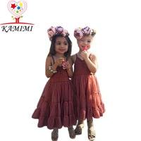 Kamimi 2017 Casual Baby Summer Girls Dress for 2-5 Years Toddler Sleeveless Children Princess Kids Girl tutu Draped Dresses A369