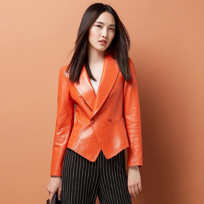 Gacket Mince Veste Vêtements Véritable Mouton Automne Cuir Hauts orange Femmes De Pour Peau Noir Printemps gris Manteau Dames En S6x4q5x7w