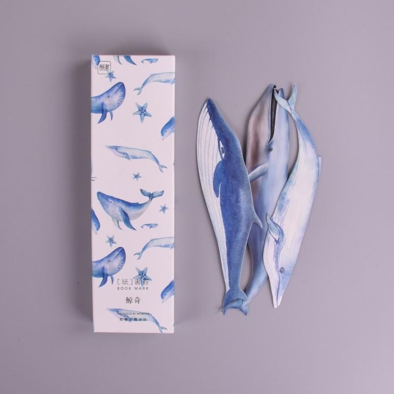 30 unids/caja marcapáginas de papel de pez ballena papelería marcapáginas portatarjetas para libros material escolar papelaria