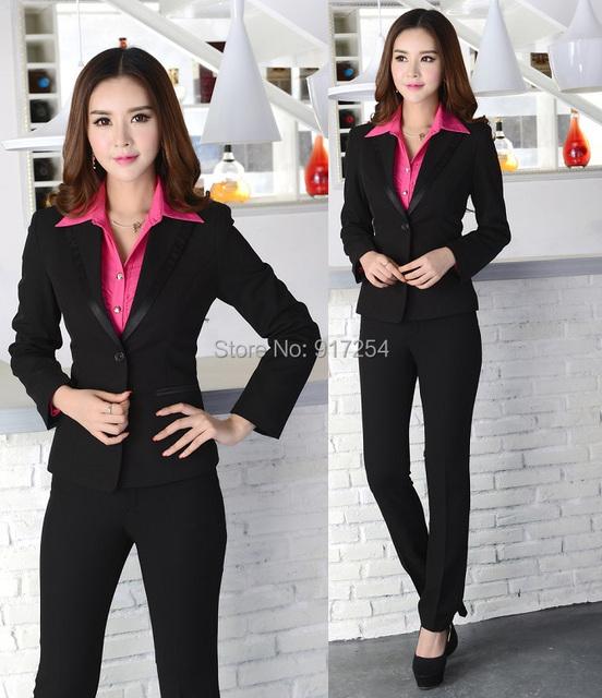 Plus Size Pantsuits Formales 2015 Nuevo Estilo Uniforme de Alta Calidad Blazer Trajes Para Señoras de la Oficina Work Wear Chaqueta Y Pantalones conjunto