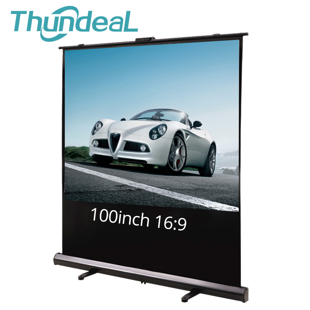 Thundeal Standing Projector-Screen Floor School 100inch Party White Office-Meeting Pull-Up