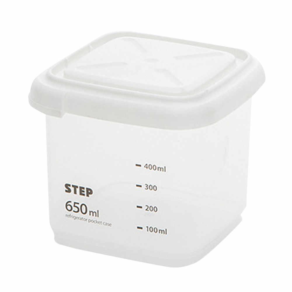 1pcs Plástico Caixa de Armazenamento De Latas Seladas Jar Recipiente Transparente Copo De Medição Cozinha Jar Vasilha de Armazenamento Caixa de Armazenamento De Alimentos Manter Fresco