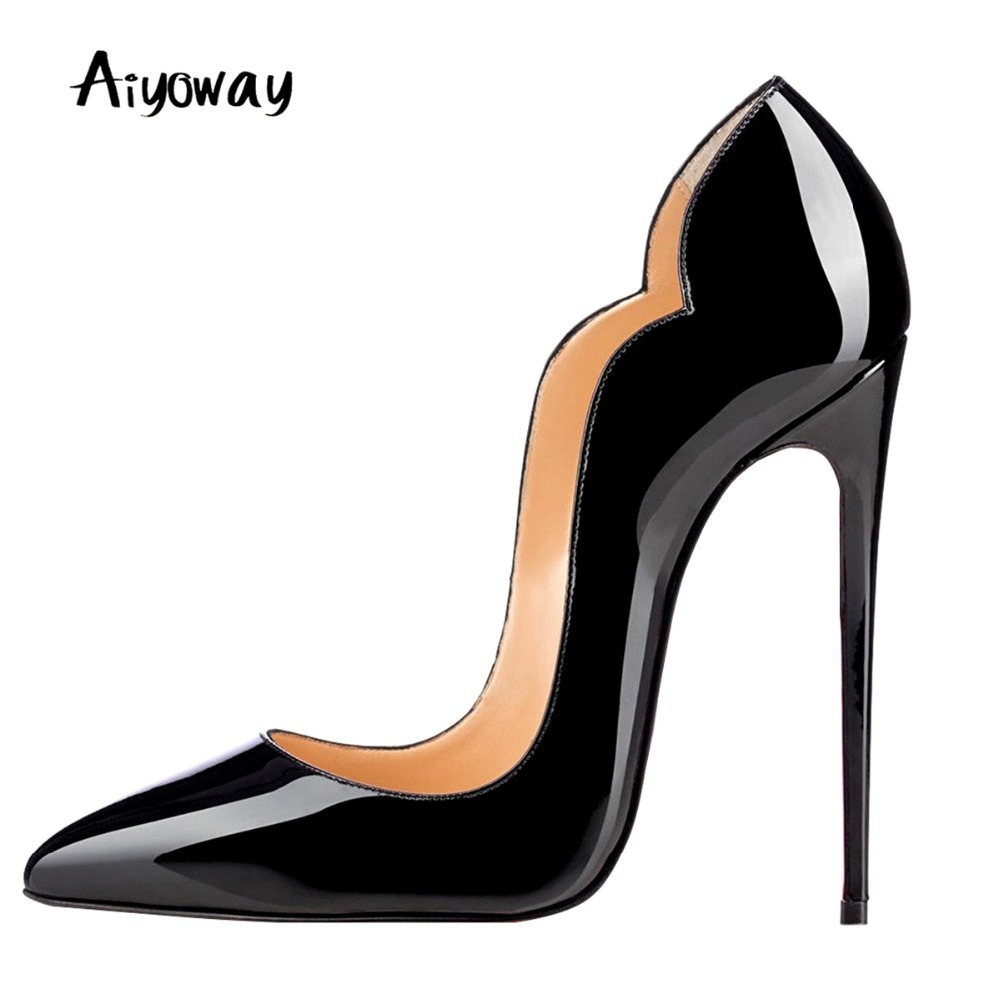 Aiyoway Sexy Women Shoes Pointed Toe High Heels Pumps Autumn Spring Clubwear Party Dress Shoes Slip On Big Size Sexy Thin Heels in Women 39 s Pumps from Shoes