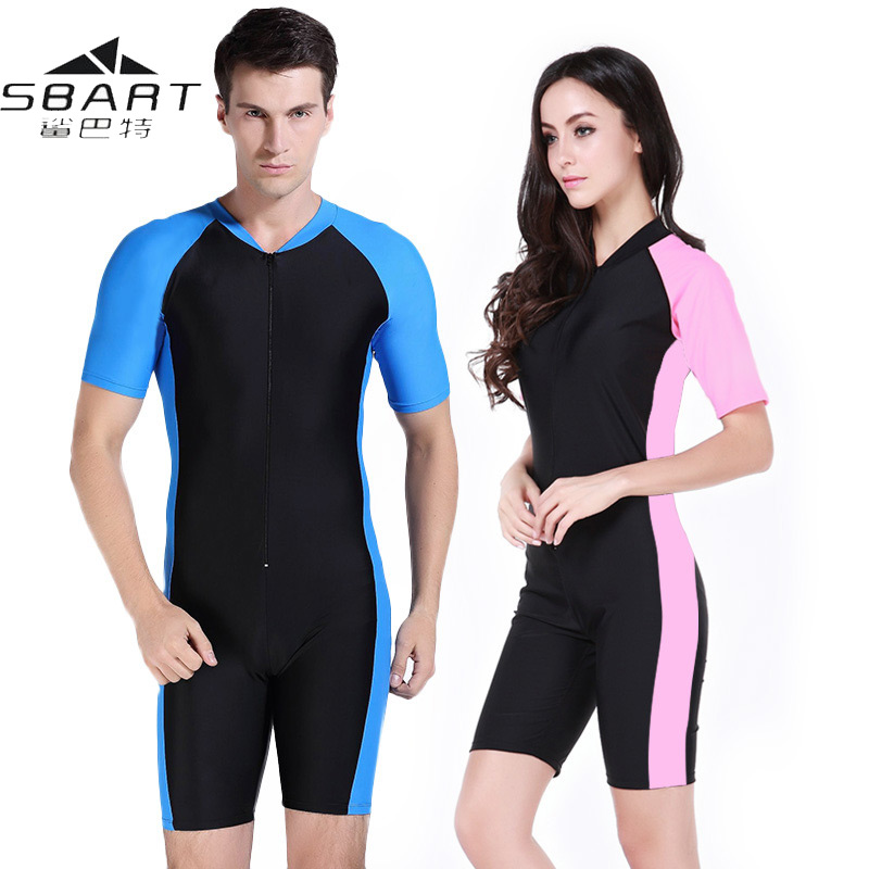 Swimwear Women Short-Sleeve Scuba-Diving-Suit Surf Lycra Sbart Uv-Proof