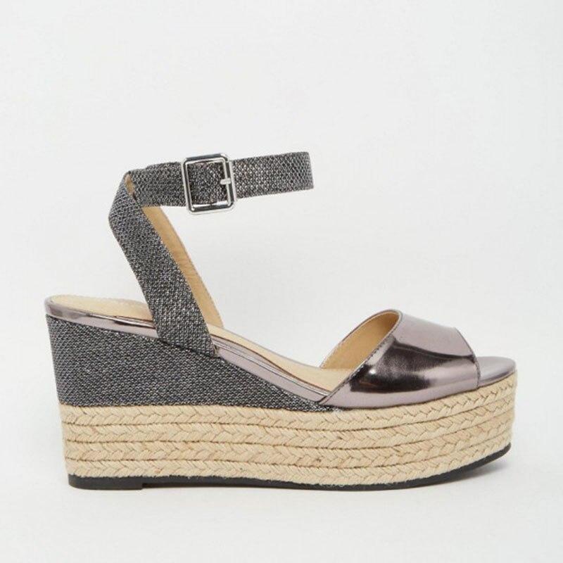 Fsj Plataforma Zapatos Slingback Fsj01 Sexy Toe Peep Noble Incomparable Sandalias Generoso Cuña Atractiva Metálico Elegante Mujeres De FUTqnHF6