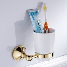 Wall Mounted Cup & Holders Gold Color Brass Cups Toothbrush Holder Bath Hardware Sets Single Cup Holder ZD879 стоимость