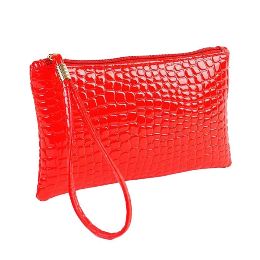 Кошелек для монет, Женский кошелек, пять цветов, Крокодиловая Кожа, клатч, сумка, кошелек для монет, короткие модные стильные сумки для женщин - Цвет: Красный