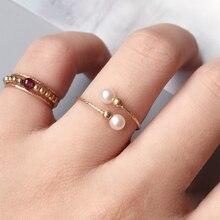 خواتم سيدات مصنوعة يدويًا من اللؤلؤ الطبيعي خواتم مملوءة بالذهب مجوهرات يدوية خواتم سيدات