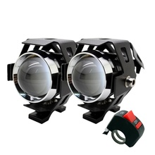 2 Stks/partij Sunkia Led Koplamp High Power 125W Motorfiets Projector Lamp U5 3 Modi 3000LM Motor Hoofd Fog Lamp gratis Verzending