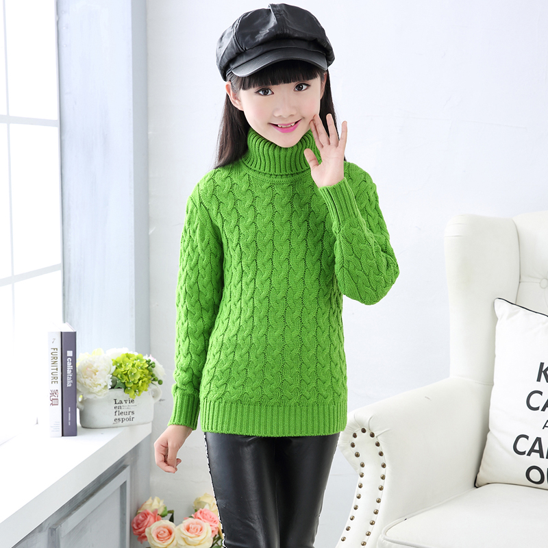 High Quality Autumn and Winter Girl Thick Pullover Sweaters Children's Wool Cashmere Knitting Sweater women s sweater pullover 100% genuine goat cashmere women sweaters and pullovers knit round neck long sleeves thick sweaters