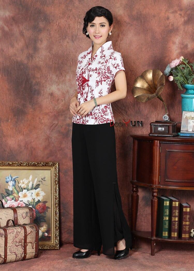 Chinois Traditionnel hauts femme Coton Manches Courtes Chemise Taille M à 3XL
