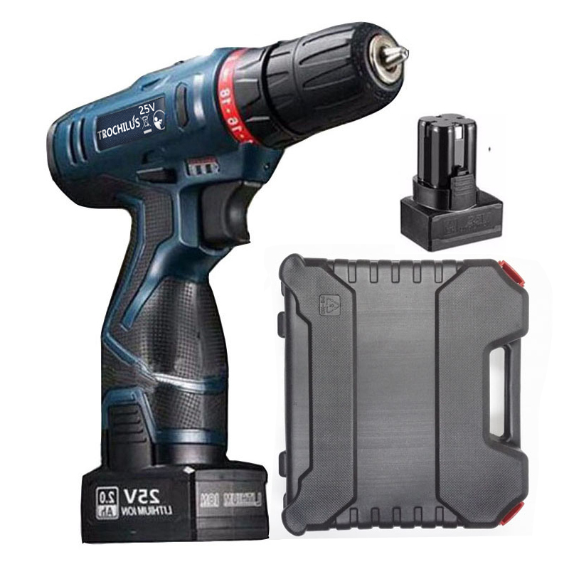 25V cordless Screwdriver Multifunction Power Tool Rechargeable  Screwdriver with Lithium Battery * 2 Household toolbox makita 18v lithium battery series tool cordless impact screwdriver 3000ipm 2300rpm