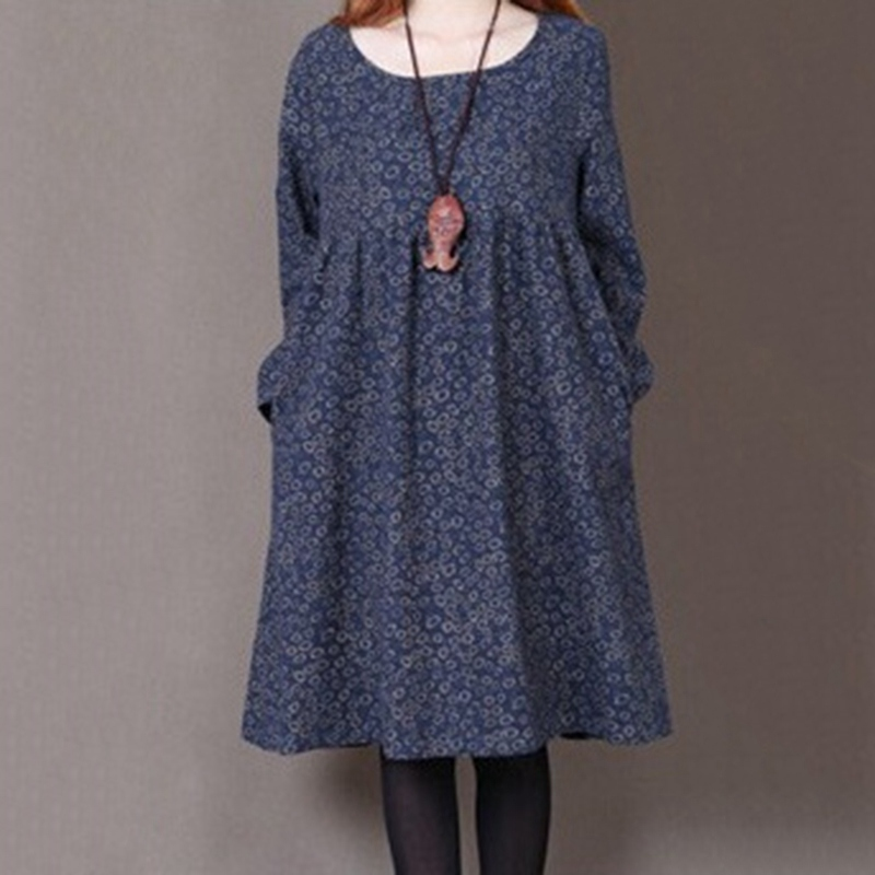 Popular Casual Pregnant Woman Dress Floral Printed O Neck Long Sleeve Maternity Clothes Cotton Linen Spring