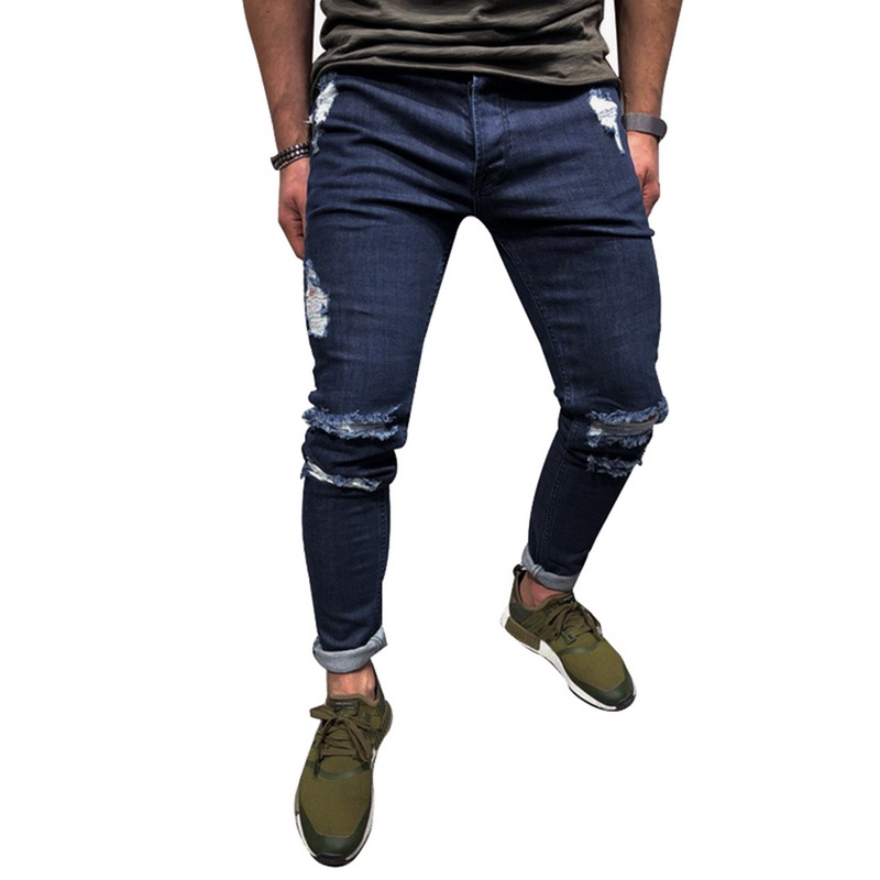 Strappati Blue Hip Del Etero Streetwear Dark Dei Uomini Casual Slim Fit  Denim Wenyujh Skinny Stretch Pantaloni Trousersd Hop ... 3464d3654dd2