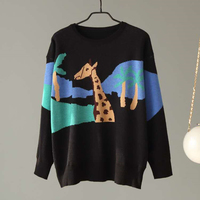 Women Knitted Warm Sweaters Cartoon Giraffe Printed Preppy Style Knit Pullovers Loose Black Lady Cute Knitting Tops