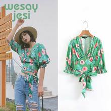 Vintage Flower Print Women Dress V Neck Blouses Woman 2019 Fashion Streetwear Florals Printed Blouse Women Blusas Shirt Tops недорго, оригинальная цена