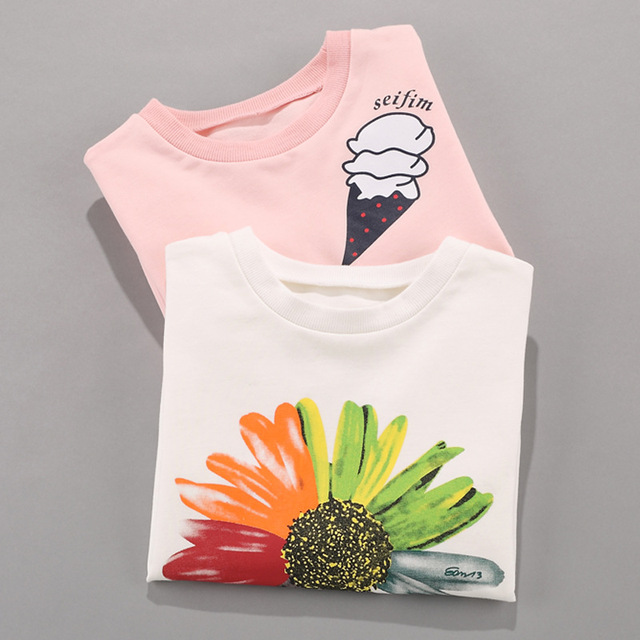 New Retail Girls Clothing Spring Kids Clothes Girls Sunflower Print Outfits t-shirt Beautiful Long Sleeve Children Clothing 3-15