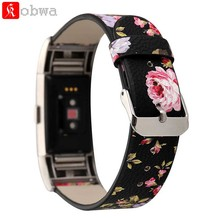 Kobwa Leather Watchband Replacement Watch Band For Fitbit Charge 2 Charge2 HR Watch Accessories Leather Wrist