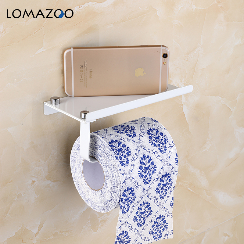 Concise Wall Mount Toilet Paper Holder Bathroom Accessories White Fixture Stainless Steel Roll Paper Holders with Phone ShelfConcise Wall Mount Toilet Paper Holder Bathroom Accessories White Fixture Stainless Steel Roll Paper Holders with Phone Shelf