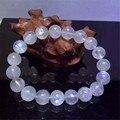 O Envio gratuito de 10mm Natural Genuine Luzes Azuis Moonstone Pulseiras Mulheres Femme Trecho Charme Rodada Pulseira de Pérolas De Cristal