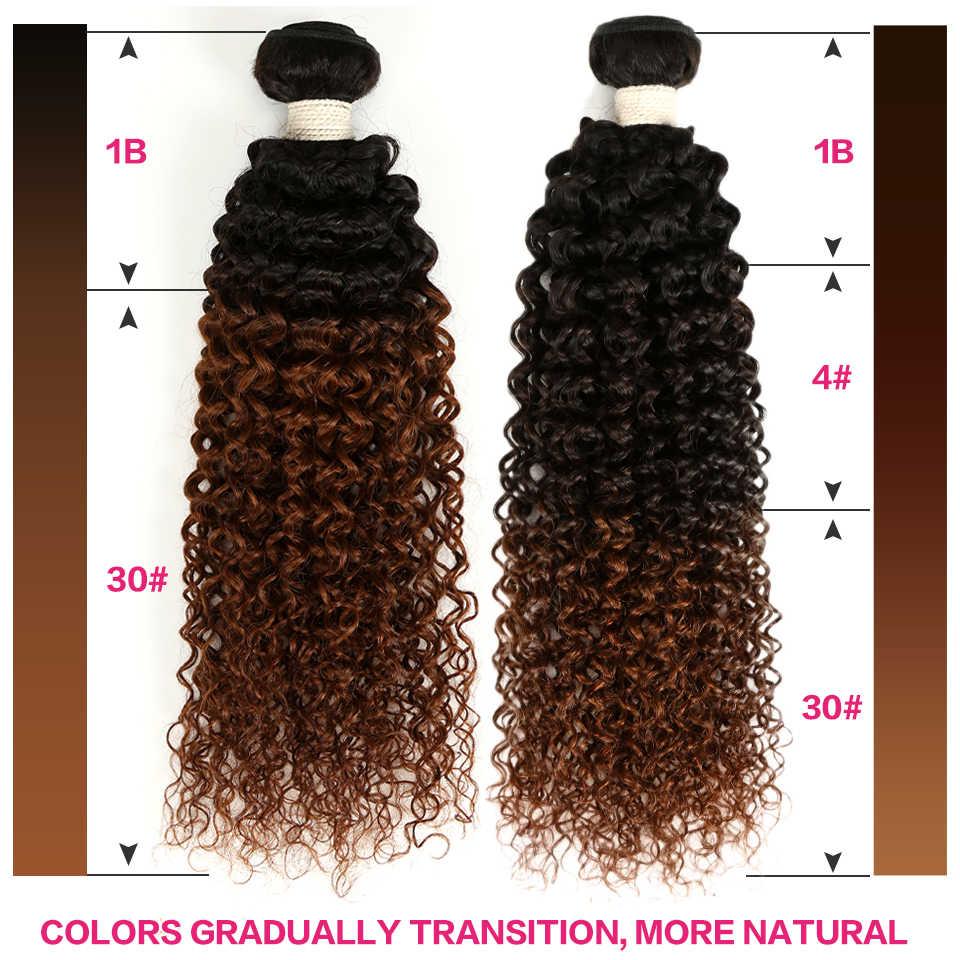 1/3/4 шт Ombre бразильские странный вьющиеся волосы пучки ткань коричневый Ombre человеческих волос пучки 10- 28 Inch Natural, 1B/4/30, 1B/30