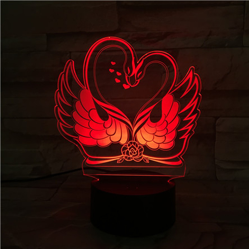 Swans 3D Table Lamps For Living Room 7 color change Remote Touch switch Desk Lamp Christmas gifts 3D night lightsSwans 3D Table Lamps For Living Room 7 color change Remote Touch switch Desk Lamp Christmas gifts 3D night lights