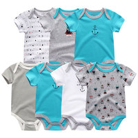 Newborn Baby Rompers 7 PCS/lot Uniesx baby jumpsuits 100%Cotton Summer Children Clothing Roupa bebe Girls&Boys Baby Clothes