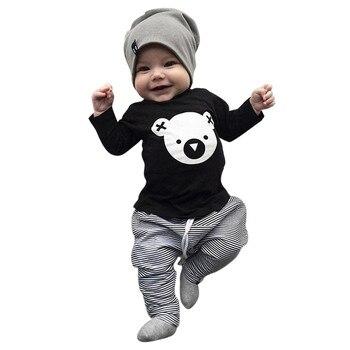 MUQGEW Children clothing set Cartoon Koala T-Shirt Tops +Striped Pants Baby Boy Clothes newborn baby boy clothes roupa infantil 3