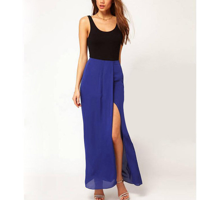 Online Shop Hot Sexy Womens Open Side Split Skirt Summer Solid ...