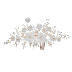 Image 3 - Jonnafe עדין חתונת שיער תכשיטי פורצלן פרח כלה שיער מסרק סיכות בעבודת יד נשים לנשף כיסוי ראש