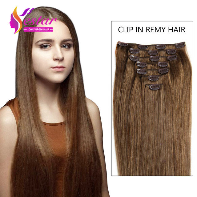 Natural Clip Ins Remy Hair Extensions 14 To 26 Inches Brown Straight
