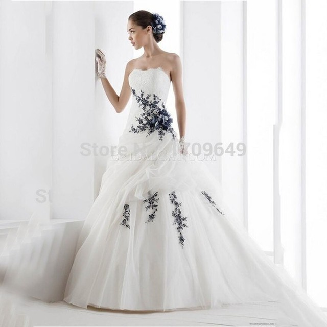 Hot Sale Strapless Black Lace Accent Bridal Gown Draped Appliques ...
