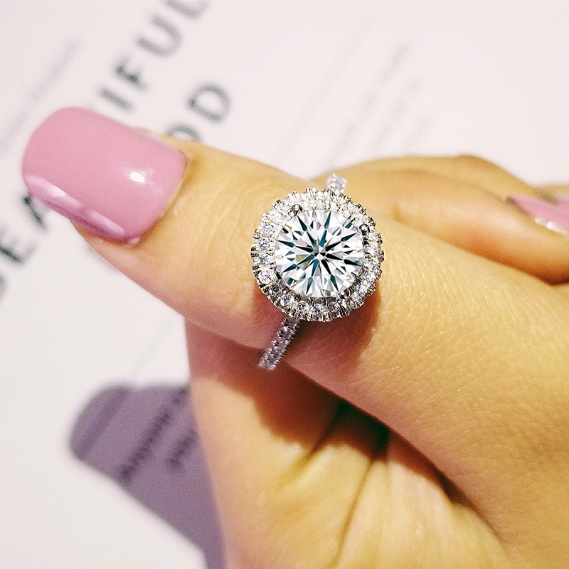 Solid new 2019 fashion 100% sterling silver AAA zirconia women wedding engagement Luxury wholesale ring R4323S